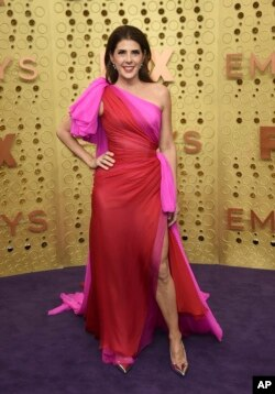 Marisa Tomei arrives at the 71st Primetime Emmy Awards on Sunday, Sept. 22, 2019, at the Microsoft Theater in Los Angeles. (Photo by Jordan Strauss/Invision/AP)