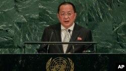 리영호 북한 외무상이 지난해 9월 뉴욕 유엔본부에서 열린 유엔총회에서 기조연설을 하고 있다.
