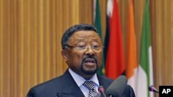 African Union Commission chairman Jean Ping addresses an emergency summit of the AU Peace and Security Council in Ethiopia's capital Addis Ababa, August 26, 2011