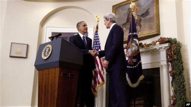 President Barack Obama shakes hands with Sen. John Kerry, D-Mass., his choice to be the next Secretary of State, as he makes his announcement at the White House in Washington, Friday, Dec. 21, 2012.