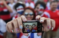 Costa Rica fans take a selfie.