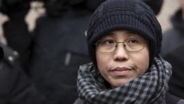 Liu Xia, the wife of Chinese dissident Liu Xiaobo, talks to the media in Beijing February 11, 2010.
