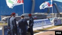 015年莫斯科航展上展出的博拉莫斯巡航導彈。(美國之音白樺拍攝)
