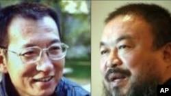 零八宪章起草者刘晓波(左),中国著名艺术家艾未未(右)