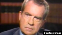 A screenshot of Former President Richard Nixon during his interview with David Frost in 1977.