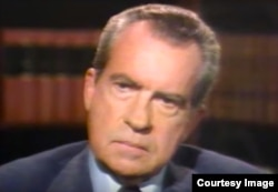 Nixon spoke about the Watergate scandal during a series of TV interviews with Sir David Frost in 1977.