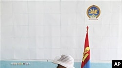 A voter in Mongolia