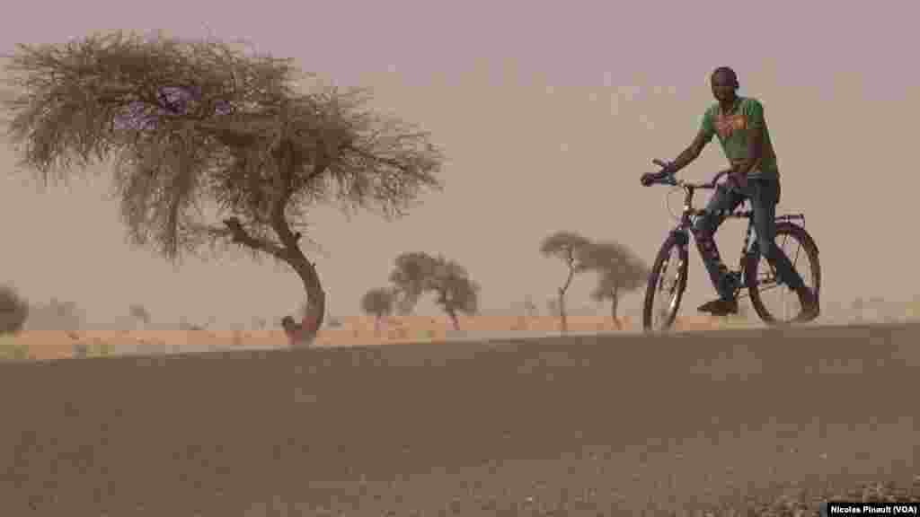 Un cycliste sur la route nationale 1, Diffa, Niger, le 17 avril 2017 (VOA/Nicolas Pinault)