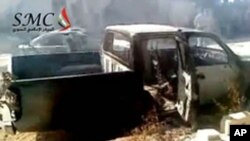 An image from video shows what Syrian anti-regime activists say is destruction and burnt vehicles in the village of Ibleen in northwestern Jabal Al-Zawiyah (region) after it was stormed by army troops. (AFP cannot independently verify the editorial conten