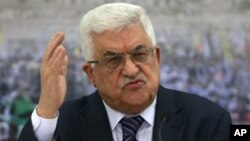 Palestinian President Mahmoud Abbas speaks during a meeting of the Palestinian leadership at his compound in the West Bank city of Ramallah, November 16, 2012.