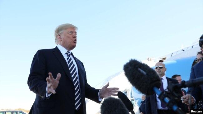 特朗普总统2018年10月20日见记者(路透社)