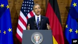 Tổng thống Hoa Kỳ Barack Obama phát biểu tại Hannover, miền bắc nước Đức, ngày 25/4/2016.
