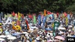 16일 도쿄 중심에서 열린 원전 반대 집회.