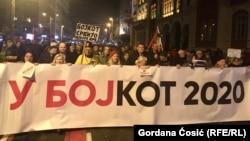 Protest za bojkot izbora, u Beogradu, 15. februara 2020. (Foto: Gordana Ćosić, RSE)