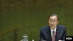 Sekjen PBB Ban Ki-moon memberikan sambutan dalam pembukaan KTT PBB membahas soal AIDS di New York (8/6).