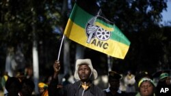 An African National Congress (ANC) supporter holds the party's flag during a march to the Goodman Gallery, in Johannesburg May 29, 2012.