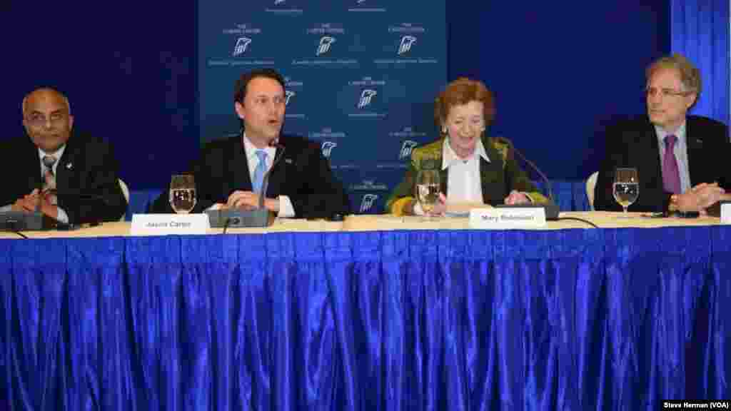From left, the U.S. Carter Center election observation mission, Bhojraj Pokharel, Jason Carter, Mary Robinson and Jonathan Stonestreet, speak to reporters in Yangon, Myanmar, Nov. 10, 2015.