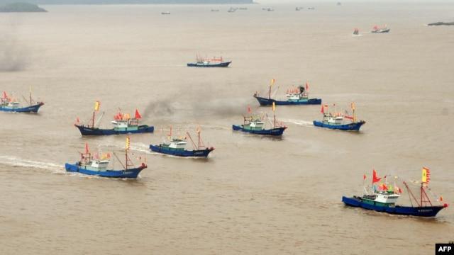 Đoàn tàu đánh cá của Trung Quốc tỏa ra khắp Biển Đông. Trong nhiều năm qua, việc đánh bắt quá độ ở Biển Đông đã làm cho nguồn cá trong khu vực bị tổn hại nghiêm trọng.