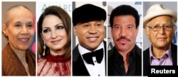 FILE - A combination photo showing the 2017 Kennedy Center Honorees, from left, actress, dancer and choreographer Carmen de Lavallade, singer-songwriter and actress Gloria Estefan, hip-hop artist LL COOL J, musician and record producer Lionel Richie and t