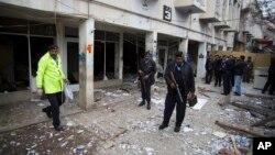 Khuôn viên tòa án, nơi xảy ra vụ tấn công khủng bố giết chết 11 người, 3/3/14, Islamabad, Pakistan