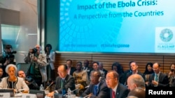 From left, IMF Managing Director Christine Lagarde, World Bank Group President Jim Yong Kim, Guinea's President Alpha Conde and United Nations Secretary-General Ban Ki-moon address the Ebola crisis during the IMF-World Bank annual meetings in Washington. (REUTERS/Jonathan Ernst)