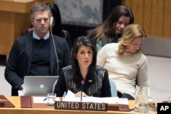 U.S. Ambassador to the United Nations Nikki Haley speaks during a Security Council meeting on the situation in Iran, at United Nations headquarters in New York, Jan. 5, 2018.