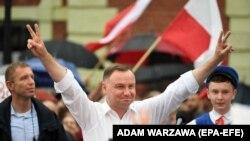 Президент Польши Анджей Д\уда на предвыборном митинге.