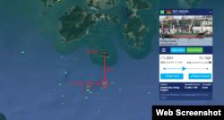 선박의 실시간 위치정보를 보여주는 '마린트래픽(MarineTraffic)' 화면. 북한 석탄을 불법 운반한 선박 '스카이 엔젤' 호가 19일 오후 7시 35분 현재 전라남도 당사도에서 약 4km 떨어진 한국 영해를 지나고 있다.