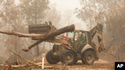 In this image released and dated on Jan. 6, 2020, from the Australian Department of Defense, plant operators Cpl. Duncan Keith and Sapper Ian Larner of the 22nd Engineer Regiment assist staff from Forestry Management Victoria.
