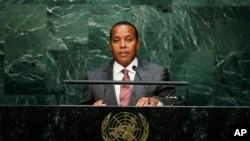 圣多美和普林西比总理帕特里斯·特罗瓦达在联合国总部。(2015年9月26日)