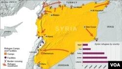 Карта с указанием стран, принявших сирийских беженцев (архивное фото)