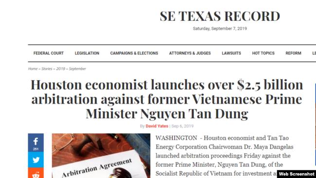 Trang SE Texas Record đăng tin bà Maya Dangelas kiện cựu TT Nguyễn Tấn Dũng. Photo SE Texas Record