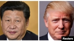 FILE - A combination of photos of U.S. President Donald Trump (center) in Washington, March 1, 2017, Japan's Prime Minister Shinzo Abe (right) in Tokyo, Nov. 18, 2014, and Chinese President Xi Jinping (left) at London's Heathrow Airport, Oct. 19, 2015.