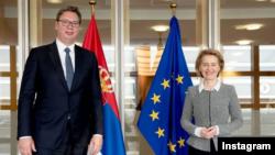 Predsednik Srbije Aleksandar Vučić sastao se u Briselu sa predsednicom Evropske komisije Ursulom fon der Lajen. (Foto: Instagram profil predsednika Srbije)