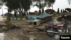 خسارت طغیان آب در بندر دیر، استان بوشهر