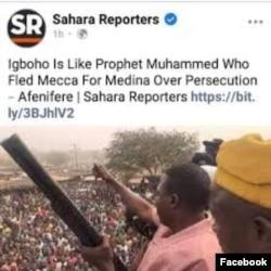Labarin da Sahara reporters ta wallafa a Facebook