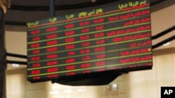 A trader works during Egypt's stock exchange reopening session after a nearly two-month closure, in Cairo, March 23, 2011