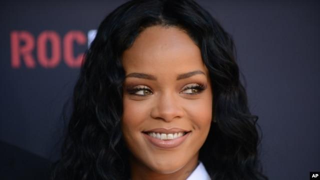 Rihanna arrives at the Roc Nation 2014 Pre-Grammy Brunch Celebration on Jan. 25, 2014 in Los Angeles.