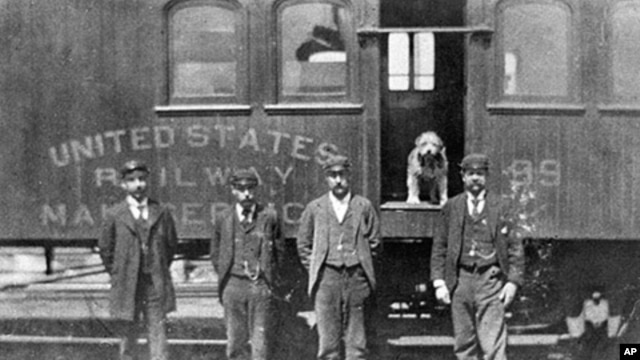 Owney, posing here in one of his favorite spots, rode the rails all over the country.