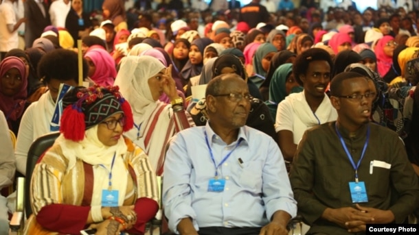 Participants listen to a presentation at the Mogadishu Book Fair in Mogadishu, Somalia. (Courtesy - Mogadishu Book Fair)