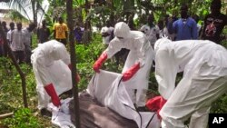 Health workers cover the body of a man suspected of dying from the Ebola virus near Monrovia, Liberia, October 31.