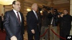 지난해 1월 누리 알 말리키 이라크 총리(왼쪽)와 조 바이든 미국 부통령. (자료 사진)