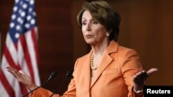 U.S. House Minority Leader Nancy Pelosi speaks to reporters, file photo.