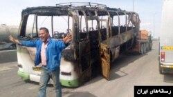 تصویری از اتوبوس سوخته شده در تصادف اتوبان تهران- ساوه