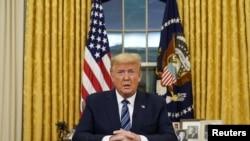 Donald Trump lors d'une adresse sur le coronavirus depuis la Maison Blanche à washington.