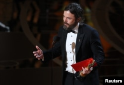 "Casey Affleck speaks as he accepts the Oscar for Best Actor for ""Manchester by the Sea."""