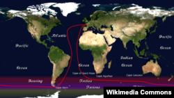 Tuyến đường cuộc đua thuyền buồm Vendée-Globe.