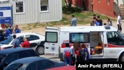 Bosnia and Herzegovina - Miral, the reception center for migrants in Velika Kladusa. Ambulance cars that came at the scene after mass fight among migrants. 6. June 2019.
