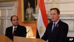 5일 영국 런던에서 데이비드 캐머런 영국 총리(오른쪽)가 압델 파탄 엘시시 이집트 대통령과 공동기자회견을 하고 있다.