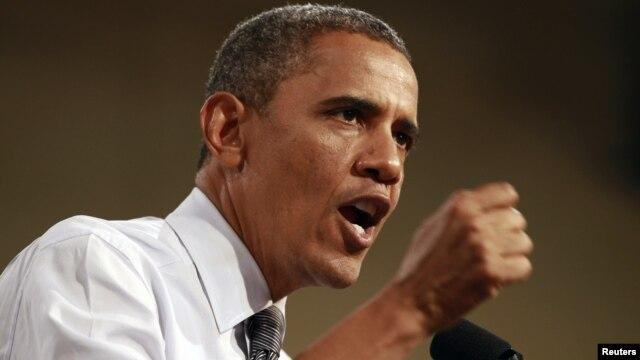 U.S. President Barack Obama speaks at a campaign rally in Las Vegas, Nevada September 12, 2012.